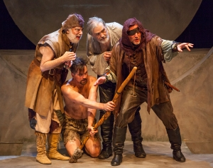The Fool (Bobby Miller), Edgar (Justin Ivan Brown), King Lear (John Contini), Kent (Eric White). Photo by John Lamb