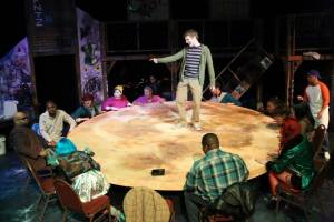Jeremy Hyatt (center) and the cast of RENT Photo by Jill Ritter Lindbergh New Line Theatre