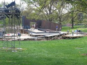 Set under construction in Shakespeare Glen, Forest  Park