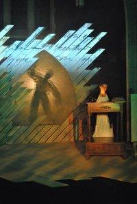 Ellie Schwetye (in silhouette), Rachel Tibbetts Photo by Joey Rumpell Slightly Askew Theatre Ensemble