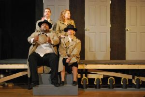 Pete Winfrey, Rachel Tibbets, Ellie Schwetye, Carl Overly Jr. (clockwise from top left) Photo by Joey Rumpell Slightly Askew Theatre Ensemble