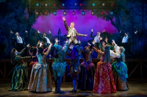 Adam Pascal (center) and cast Photo by Joan Marcus Something Rotten! National Tour